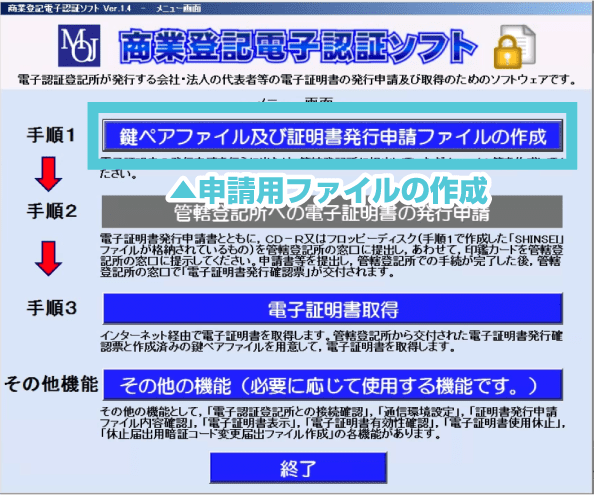 鍵ペアファイルと申請ファイルの作成